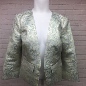 Tory Burch 6 Blazer Jacket Mint Green Gold Leaf